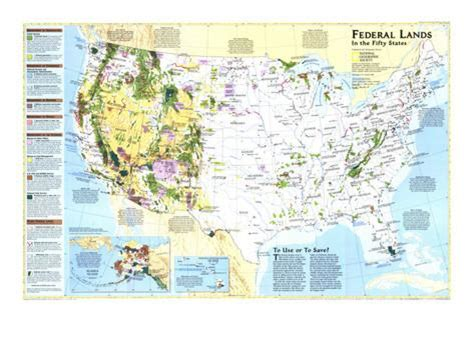 map us federal lands 1996 federal lands in the fifty states posters at