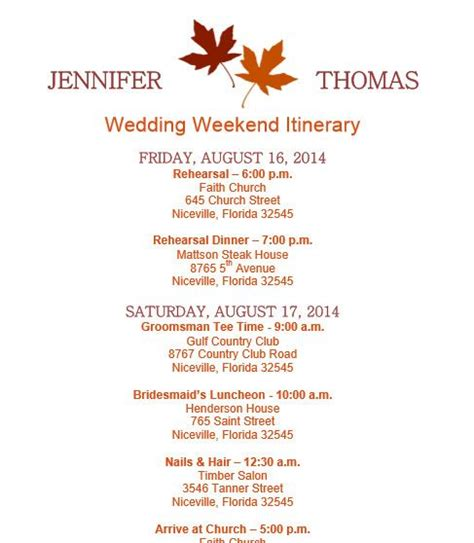 Fall Wedding Itinerary Template Download Template On Bridetodo Com Itinerary Pinterest Wedding Agenda Template