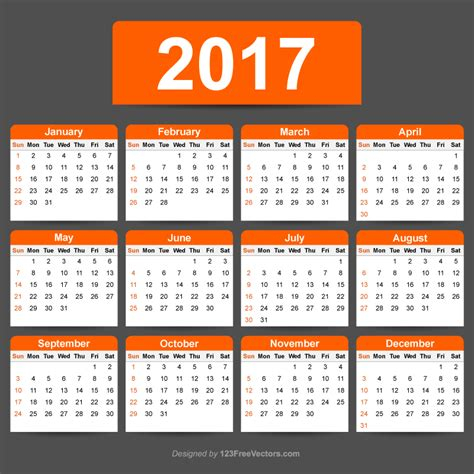 2017 calendar template illustrator 123freevectors