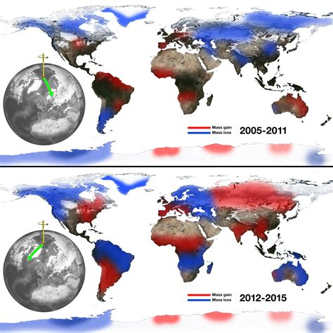 climate change creates wobbles in earth s spin axis