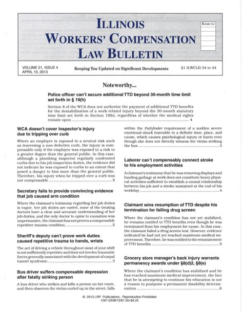 Workers Compensation Illinois Search Illinois Workers Compensation Bulletin 4 10 13