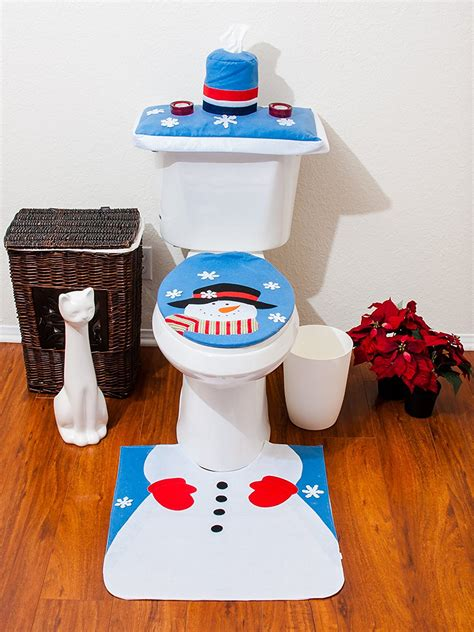 santa toilet seat cover and rug set 4 pcs santa bathroom toilet seat cover and rug set blue snowman ebay