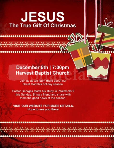 christmas gift church flyer template flyer templates