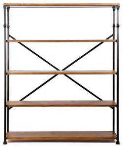Wood And Iron Bookshelves Langley Iron And Wood Bookshelf Industrial Bookcases