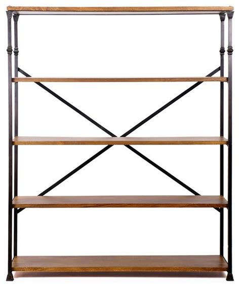 langley iron and wood bookshelf industrial bookcases