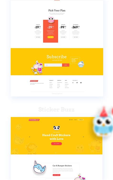 homepage design concepts stickerbuzz creative e commerce website design concept on pantone canvas gallery