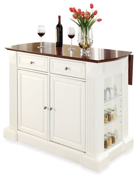 Kitchen Islands With Breakfast Bar Crosley Furniture Hardwood Drop Leaf Breakfast Bar Kitchen Island White Traditional Kitchen