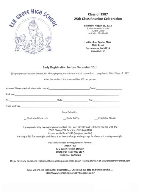 Eg High Class Of 1987 25th Class Reunion Registration Form Class Registration Form Template Free