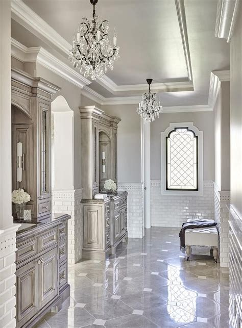 Luxury Master Bathroom Ideas Luxurious Gray Master Bathroom Is Clad In Gray Marble Pattern Floor Tiles