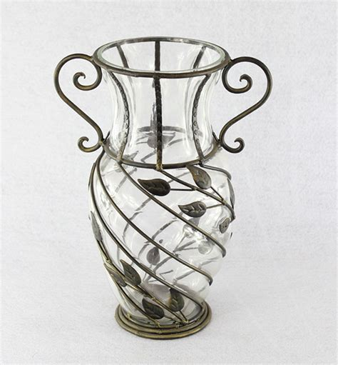 Metal And Glass Vase by Antique Greece Design Iron And Glass Vase Decorative Metal