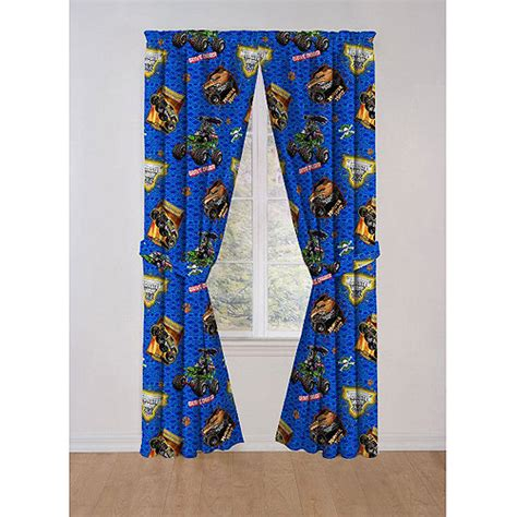 monster truck curtains monster jam curtain panel set walmart com
