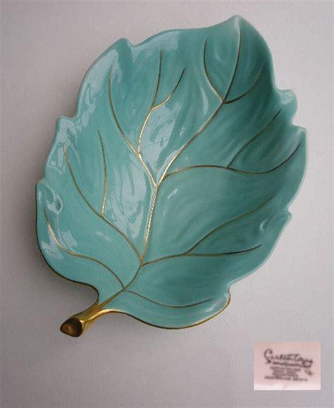 vintage carlton ware maple leaf vintage carlton ware turquoise painted leaf dish
