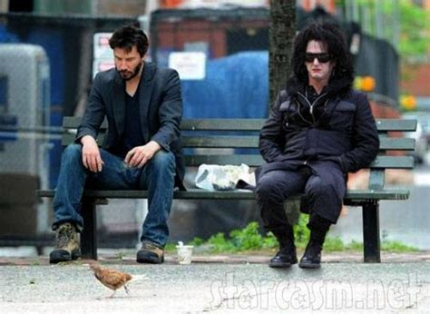 keanu reeves bench photo sad keanu reeves and sad sean penn in drag funny