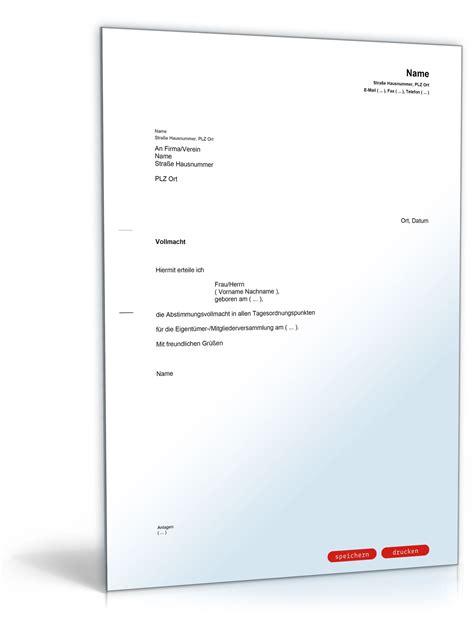 Vorlage Antrag Home Office Vollmacht F 252 R Eigent 252 Merversammlung Muster Vorlage Zum