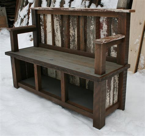 reclaimed wood entry bench reclaimed backed armed entry bench by echopeakdesign on etsy