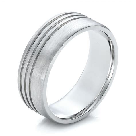 s contemporary brushed white gold wedding band 100173