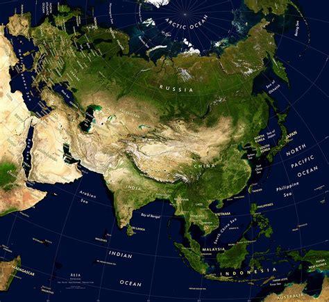 asia satellite image giclee print physical