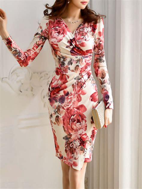 V Neck Printed Dress v neck floral printed bodycon dress fashionmia