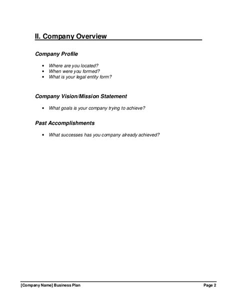 Business Plan Overview Template growthink business plan template free