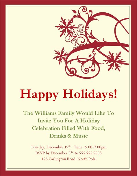 printable holiday invitation templates holiday invitation template best template collection