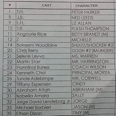 sle call sheet could silk be in spider homecoming