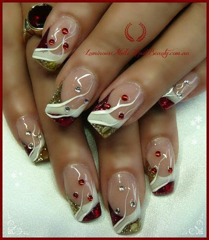nails art design magazine video christmas nails in red white gold nail art gallery