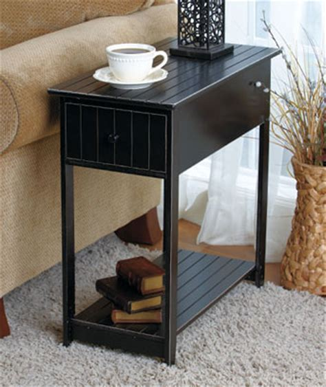 Small Black Accent Table Black Slim Accent Table Shelf And Drawer Storage Side End Table For Small Space Ebay