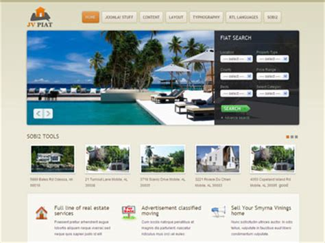 free real estate joomla templates jv piat joomla real estate template for property search