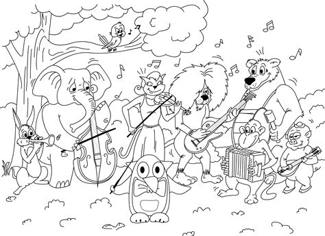 pingalee and friends orchestra coloring game printable