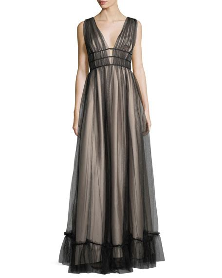 Termurah L 821 Black Halterneck Dress zac zac posen ruth sleeveless plunging evening gown neiman