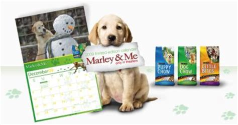 """""""marley & me"""" calendar on specially marked bags of purina"""