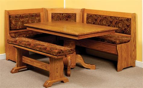 breakfast nook set with storage bench amish traditional corner breakfast nook set