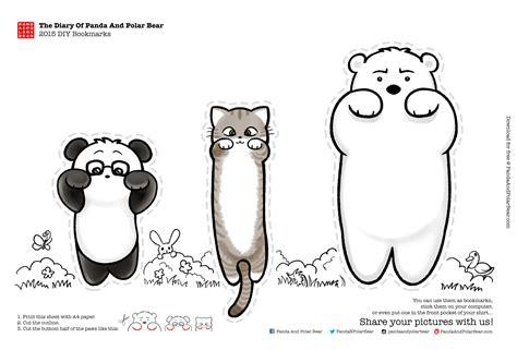 printable panda bookmark the diary of panda and polar bear 2015 diy bookmarks