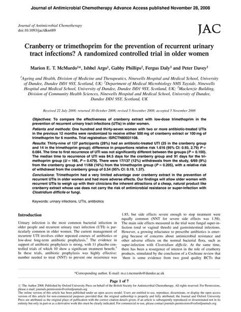 Cranberry or trimethoprim