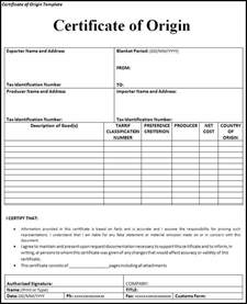 certificate of origin form template popular and various