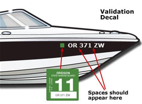 oregon boat registration displaying the registration number and validation decals