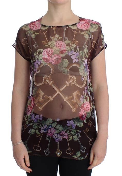 Blouseblack Eky black key floral print silk blouse t shirt designer warehouse