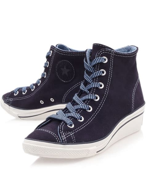 converse navy chuck suede hi top wedge trainers in blue navy lyst