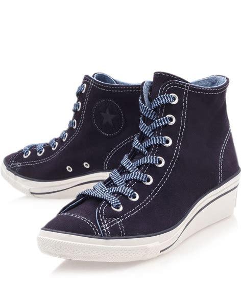 Converse Chuck Tinggi Biru Navy lyst converse navy chuck suede hi top wedge trainers in blue