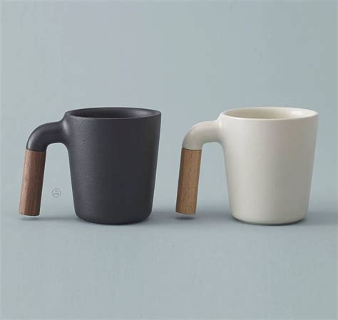 coffee mug ceramic coffee mug with r shaped wooden handle coffee