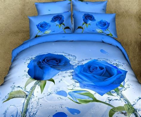 Blue Rose Modern Girls Bedding Set 3d Flower Pure Cotton