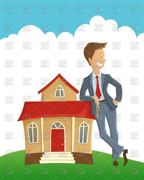 buying house directly from owner realtor leaning on house vector image 88629 rfclipart