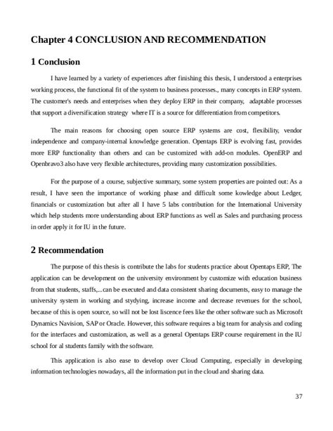 Conclusion On Thesis by Conclusions Recommendations Dissertation