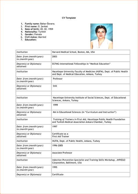 curriculum vitae exle 7 curriculum vitae format for application budget