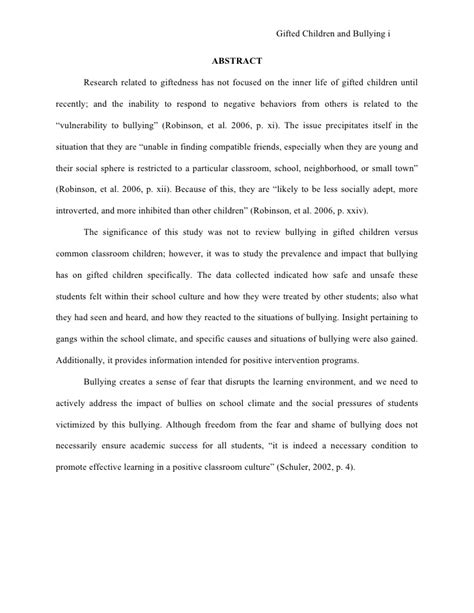 thesis abstract about bullying quot the effects of bullying among middle school gifted and
