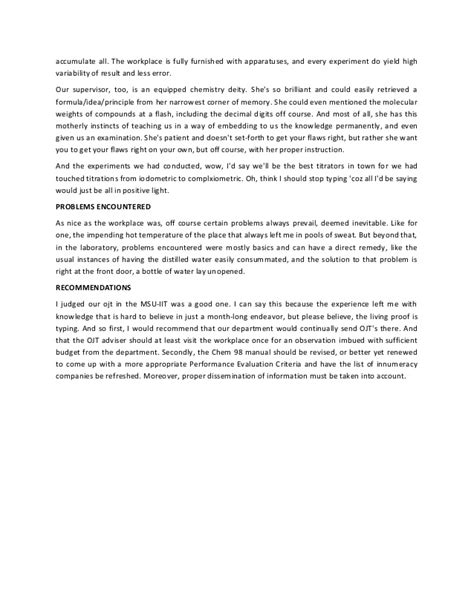 sle narrative report in science ojt narrative report an exle