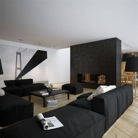 Black And White Living Room by Modern Minimalist Black And White Lofts