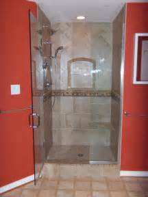 fab small walk in shower with single swing glass door as red bathroom design red bathroom ideas red and gray