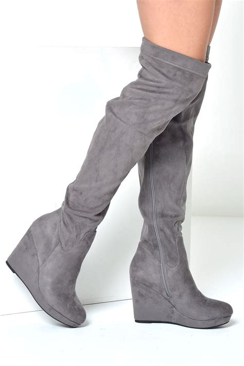 c m loraina wedge the knee boots in grey suede