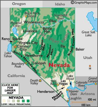 nevada map / geography of nevada/ map of nevada